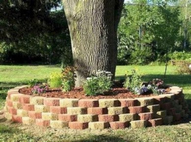 Adorable Flower Beds Ideas Around Trees To Beautify Your Yard 40