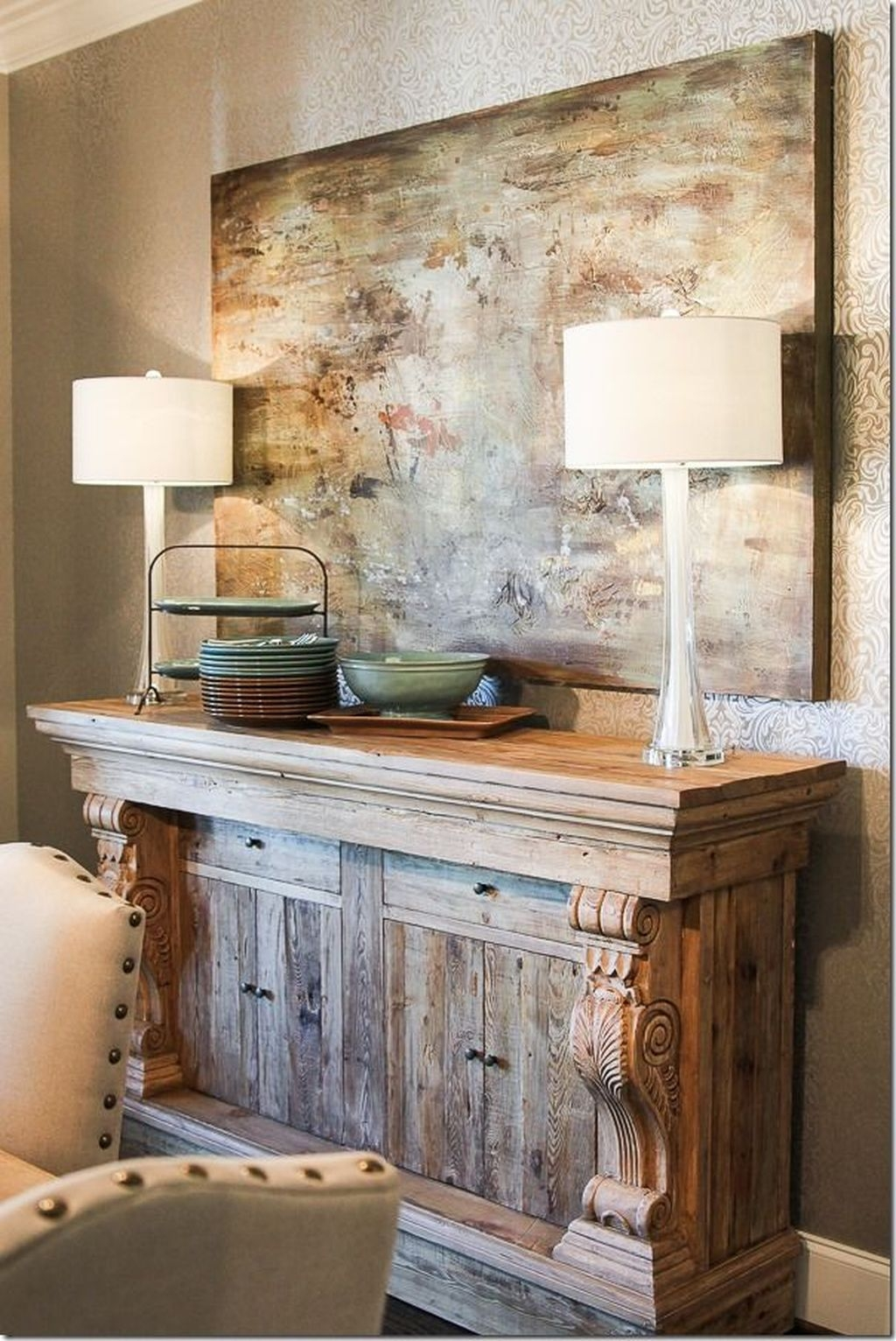 Awesome Dining Room Buffet Table Décor Ideas09