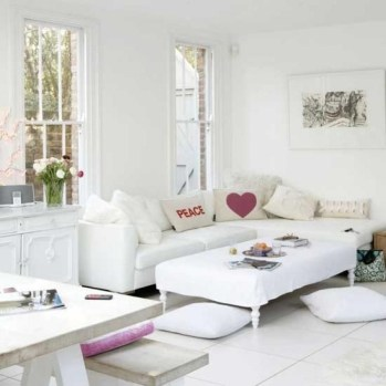 Awesome White Tiles Design For Living Room09