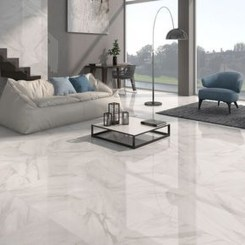 Awesome White Tiles Design For Living Room26