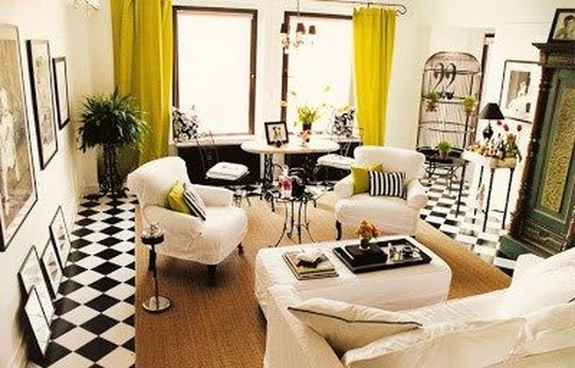 Awesome White Tiles Design For Living Room42