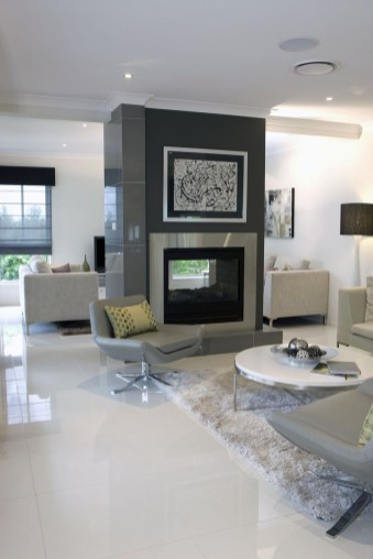 Awesome White Tiles Design For Living Room49