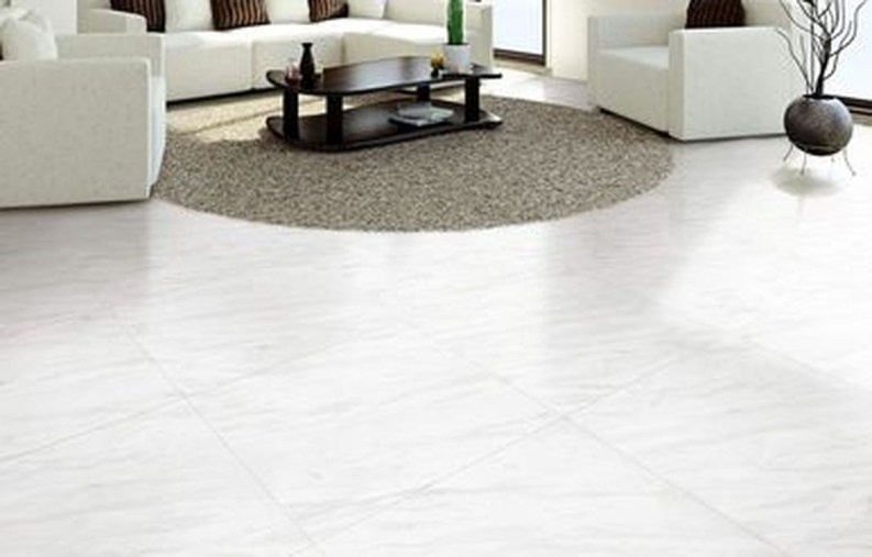 Awesome White Tiles Design For Living Room50