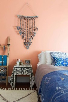 Beautiful Navy Blue And Coral Bedroom Decor06