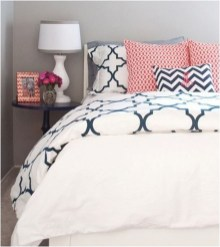 Beautiful Navy Blue And Coral Bedroom Decor10
