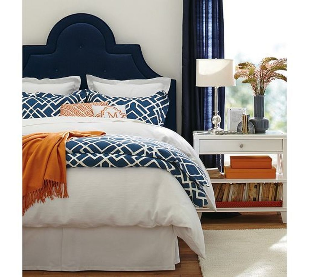 Beautiful Navy Blue And Coral Bedroom Decor20