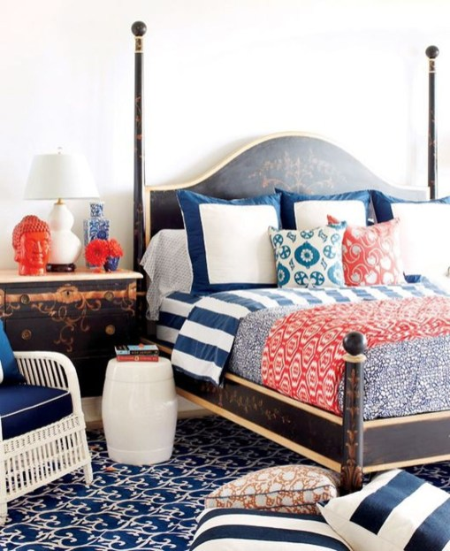 Beautiful Navy Blue And Coral Bedroom Decor27