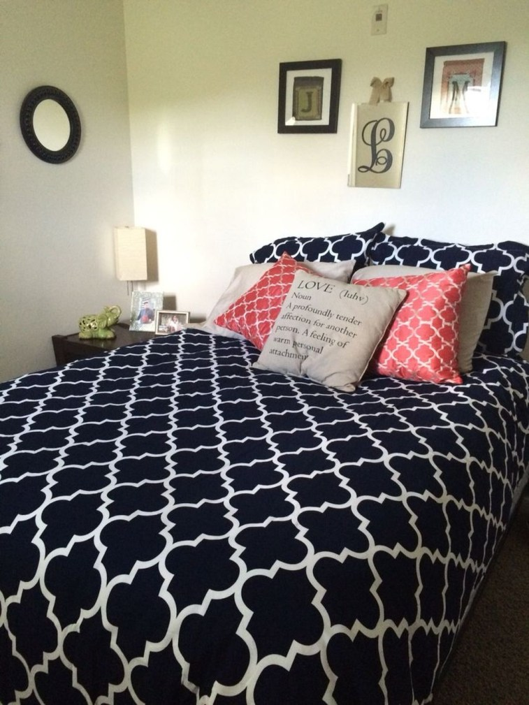 Beautiful Navy Blue And Coral Bedroom Decor33