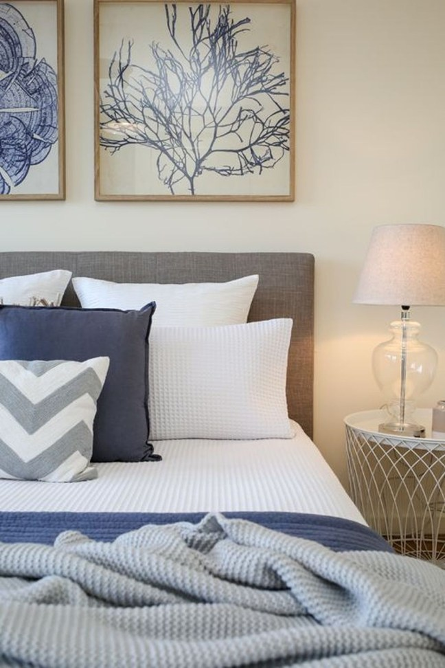 Beautiful Navy Blue And Coral Bedroom Decor37