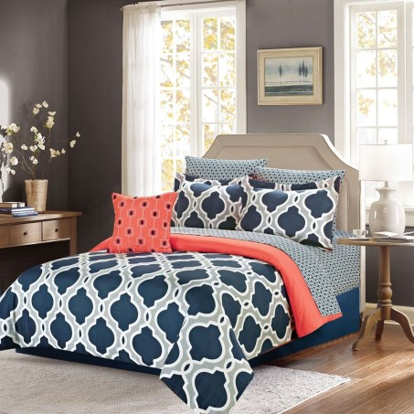 Beautiful Navy Blue And Coral Bedroom Decor38