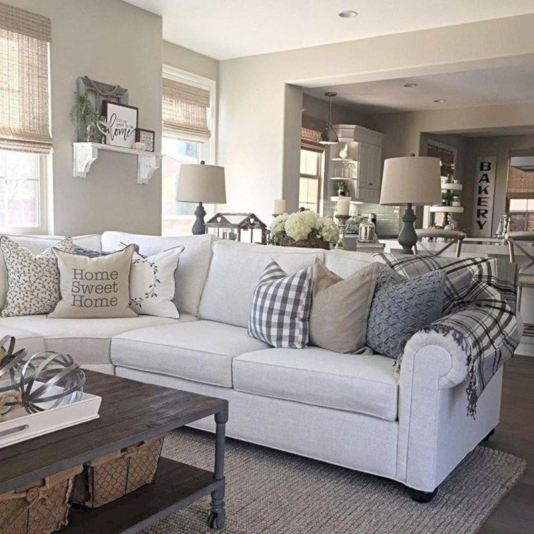 Awesome Living Room Design Ideas With Farmhouse Style24