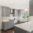 Incredible Farmhouse Gray Kitchen Cabinet Design Ideas40