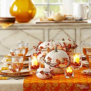 Lovely White And Orange Pumpkin Centerpieces For Fall And Halloween Table02