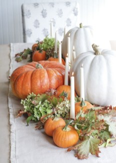 Lovely White And Orange Pumpkin Centerpieces For Fall And Halloween Table17