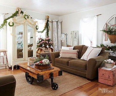 Awesome Vintage Christmas Living Room Decoration Ideas04