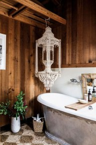 Cute Bohemian Style Decorating Ideas For Bathroom04