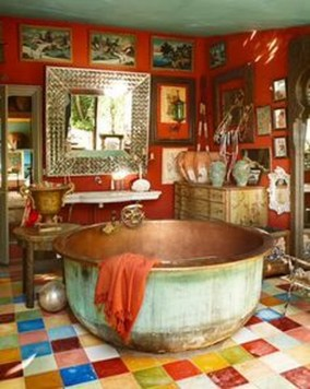 Cute Bohemian Style Decorating Ideas For Bathroom25