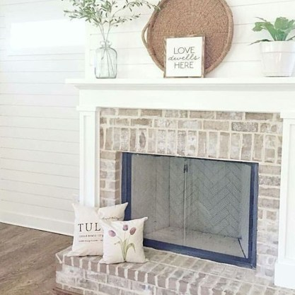 Modern Brick Fireplace Decorations Ideas For Living Room03