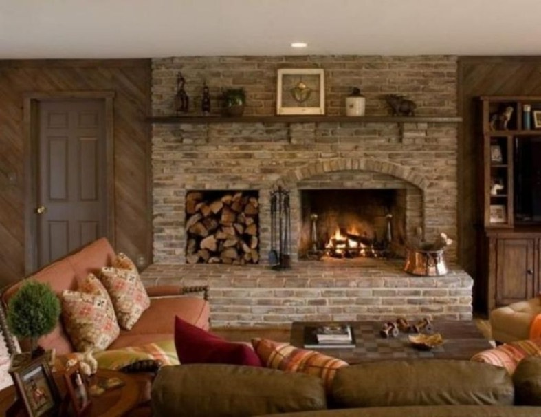 Modern Brick Fireplace Decorations Ideas For Living Room11