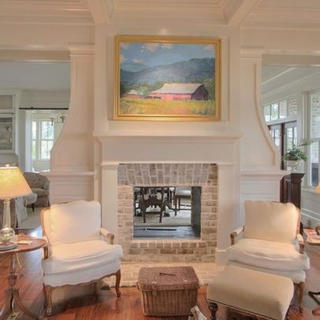 Modern Brick Fireplace Decorations Ideas For Living Room22