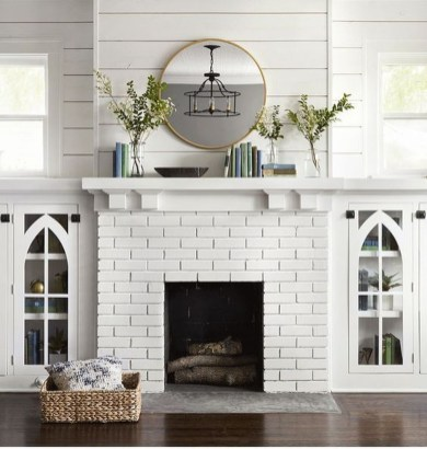 Modern Brick Fireplace Decorations Ideas For Living Room23