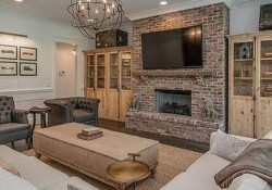 Modern Brick Fireplace Decorations Ideas For Living Room36