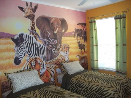 Charming Kids Bedroom Ideas With Jungle Theme To Try15