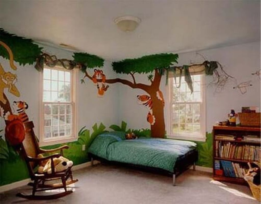 Charming Kids Bedroom Ideas With Jungle Theme To Try27