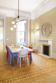 Stunning Dining Room Design Ideas With Multicolored Chairs09