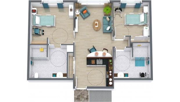 Assisted Living Two bedroom 3D Floor Plan 620x350 1