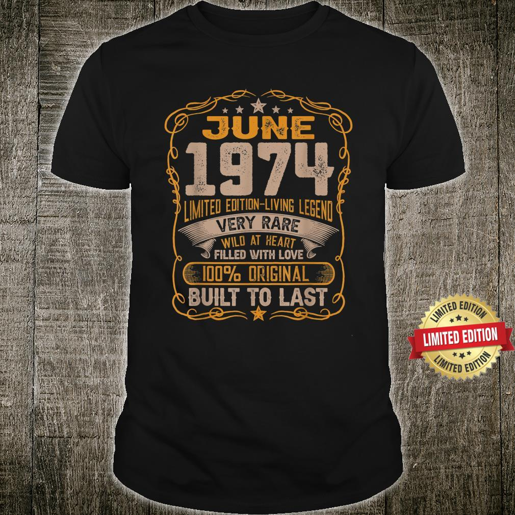 47th Birthday Decorations June 1974 47 Years Old Shirt