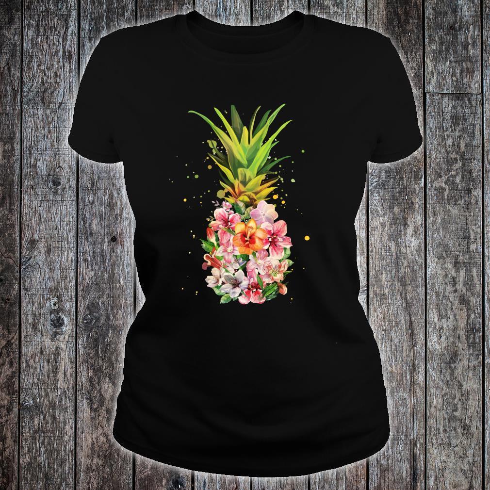 Pineapple Flowers Aloha Hawaii Vintage Hawaiian Floral Shirt ladies tee