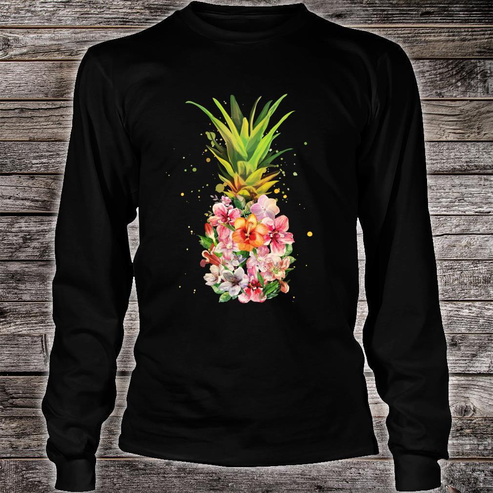 Pineapple Flowers Aloha Hawaii Vintage Hawaiian Floral Shirt long sleeved