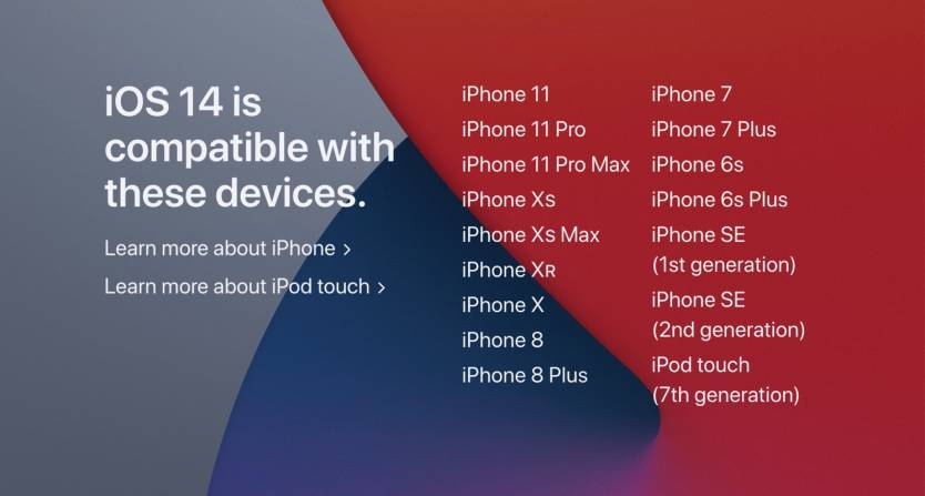 List of iOS 14 compatible devices