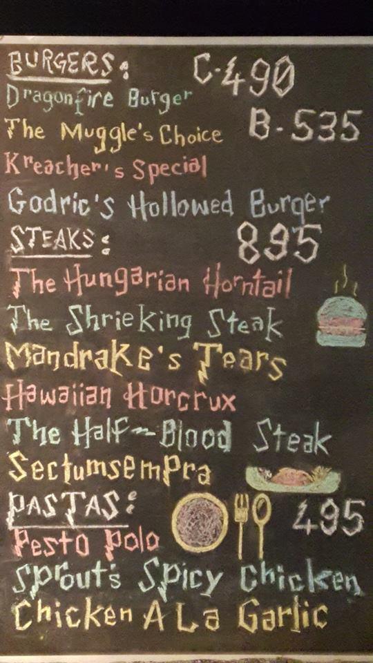 hogwarts cafe Islamabad menu