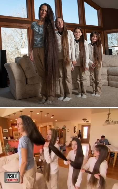 Mother and three daughters are growing their hair for a competition
