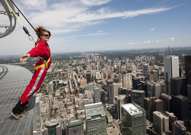Walking on the edge of CN Tower