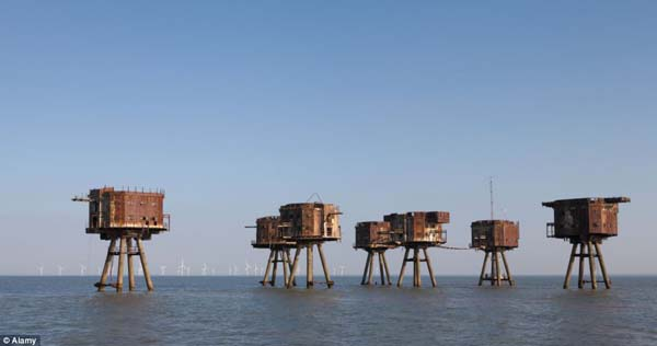 Maunsell Forts built by forces during World War are still showing signs of War