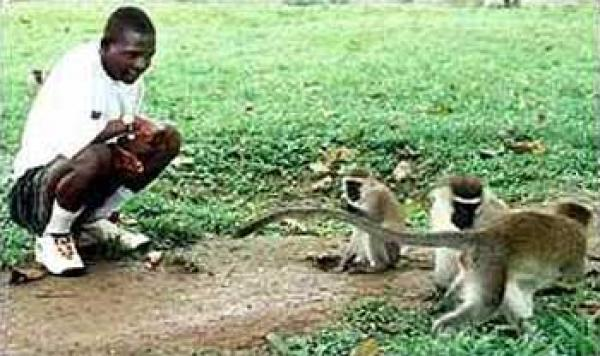 The boy raised by monkeys in the jungle of Uganda