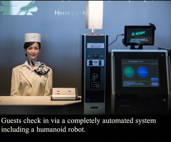 A smiling humanoid helps you check-in
