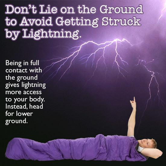 Do not lie on ground during lightning