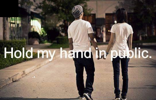 Hold her hands in public