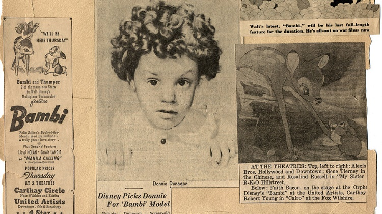 Newspaper clippings of the time when he was Bambi