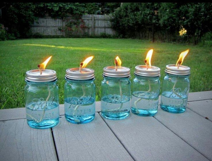 Home-made citronella oil jars