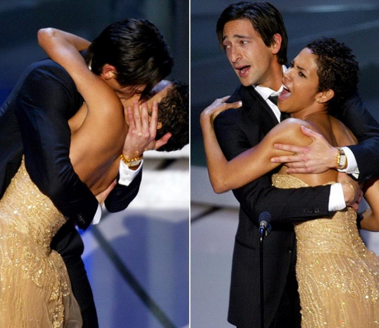 Adrien Brody locked lips with Halle Berry