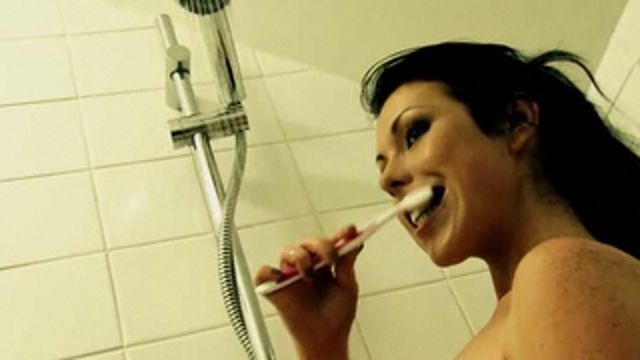 Brushing your teeth in the shower