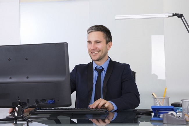 Good Posture Man working in office
