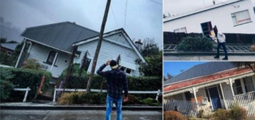 The steepest street in the world where houses appear to be sinking