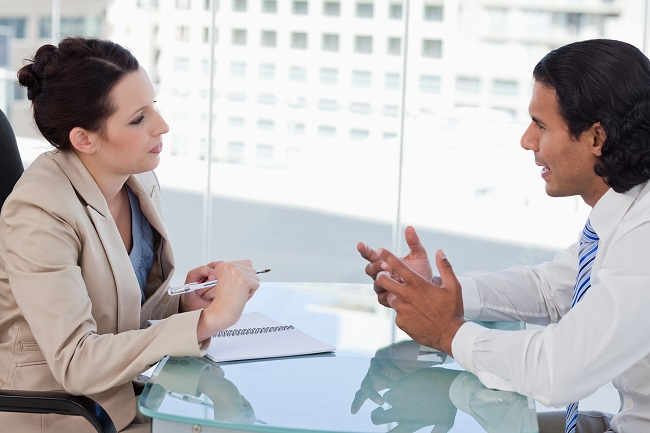 business conversation with a lady