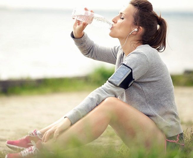 drinking water while sitting